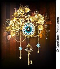 rozen, goud, klok