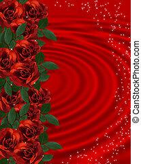 rozen, grens, romantische, rood, valentijn