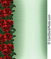 rozen, grens, rood, uitnodiging