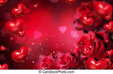 rozen, hartjes, rode achtergrond, valentijn