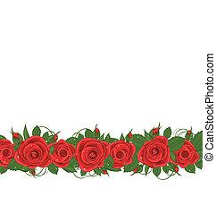 rozen, horizontaal, grens, rood