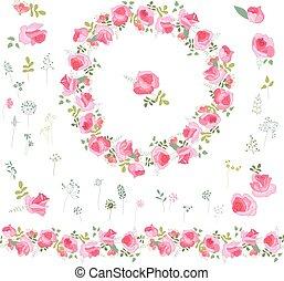 rozen, krans, vrijstaand, keukenkruiden, floral, witte
