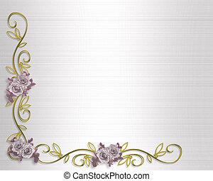 rozen, lavendel, uitnodiging