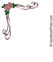 rozen, linten, ontwerp, hoek
