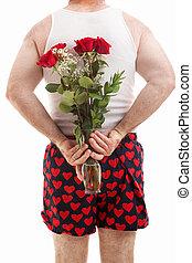 rozen, ondergoed, valentines, kerel