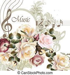 rozen, ontwerp, vector, muziek, achtergrond