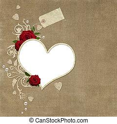 rozen, parels, frame, elegant, ouderwetse , hartjes