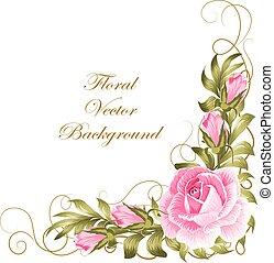 rozen, samenstelling, leaves., hoek