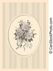 rozen, stijl, retro, kaart, uitnodiging