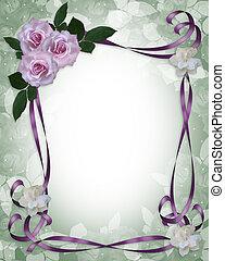 rozen, trouwfeest, grens, lavendel, uitnodiging