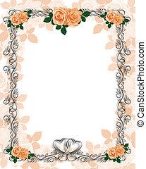 rozen, trouwfeest, mal, uitnodiging
