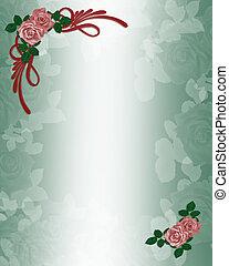 rozen, trouwfeest, of, feestje, uitnodiging