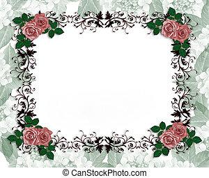 rozen, trouwfeest, orname, rood, uitnodiging