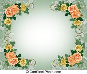 rozen, trouwfeest, perzik, uitnodiging