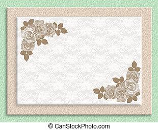 rozen, trouwfeest, sepia, uitnodiging