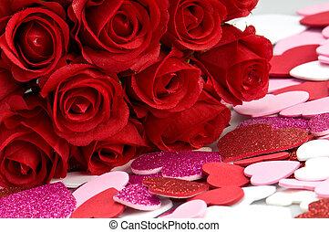rozen, valentines, rood, ans