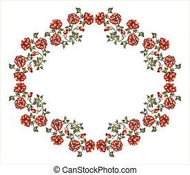 rozen, victoriaans, frame, rood