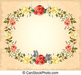 rozen, vlinder, begroetende kaart