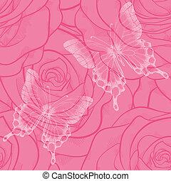rozen, vlinder, bloemen, seamless, achtergrond