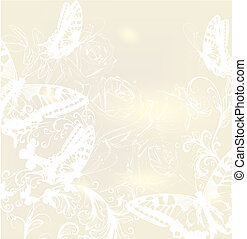 rozen, vlinder, trouwfeest, achtergrond, elegant