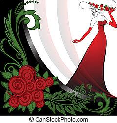 rozen, vrouw, rood