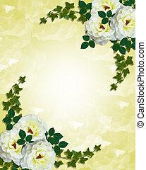 rozen, wit huwelijk, uitnodiging