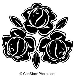 rozen, witte , black , vrijstaand, illustratie