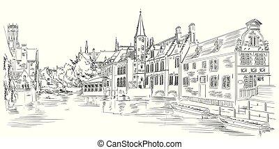 rozenhoedkaai, ヨーロッパ, 光景, 運河, bruges, ベルギー, 水
