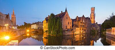 Rozenhoedkaai and Dijver river canal in Bruges, Belgium. -...
