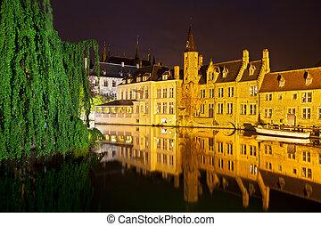 Rozenhoedkaai At Night, Bruges