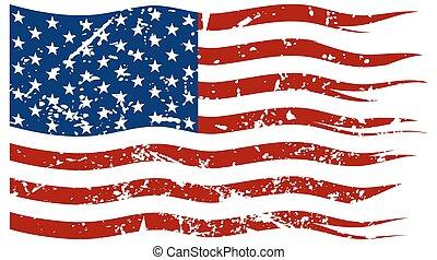 rozerwał, bandera, amerykanka, grunged