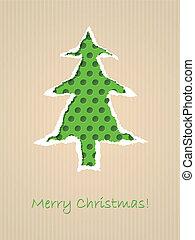 rozerwał, kropkowany, drzewo, papier, zielony, kartka na boże narodzenie