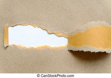 rozerwał, papier, biały