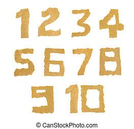 rozerwał, papier, liczba, tło, biały