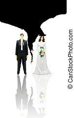 rozerwał, para, concept), (divorce, papier, figury, ślub