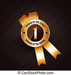 rozeta, zwycięzca, liczba, wektor, etykieta, odznaka