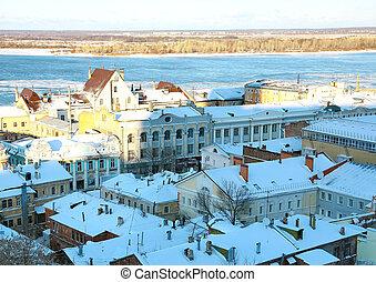 Rozhdestvenskaya street in november Nizhny Novgorod Russia
