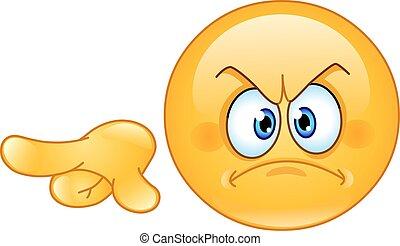 rozhněvaný, pointing out, emoticon