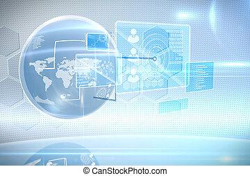rozhraní, futuristický, technika