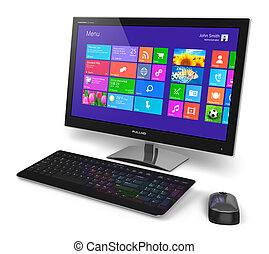 rozhraní, touchscreen, počítač, desktop