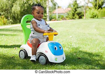 rozkošný, maličký, afričan američanka, chlapeček, hraní