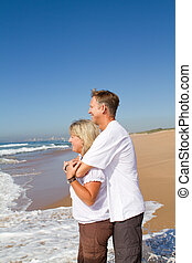 rozkochana para, na, plaża