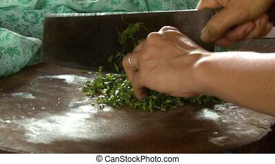 rozkrawając, osoba, warzywa