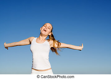 rozkrzyczany, kobieta, śpiew, albo, szczęśliwy