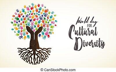 rozmaitość, drzewo, ręka, kulturalny, ludzki, dzień, karta