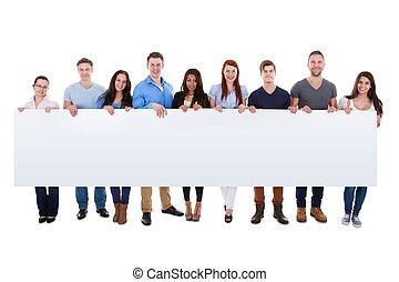rozmaity, grupa ludzi, przedstawiając, chorągiew