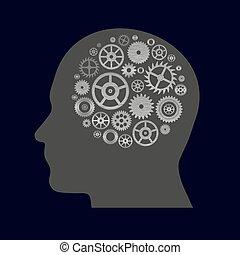 rozmanitý, cogwheels, končiny, do, lidská bytost podzemní chodba, -, thinging, eps10