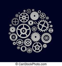 rozmanitý, cogwheels, končiny, o, bdít, hnutí, do, kruh,...