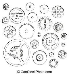 rozmanitý, cogwheels, končiny, o, bdít, hnutí, klikyháky, ikona, eps10