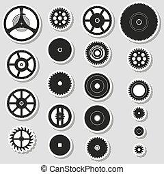 rozmanitý, cogwheels, končiny, o, bdít, hnutí, prasečkář, eps10